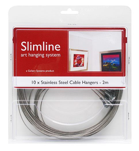 Slimline Stainless Steel Cable Hangers - 2m