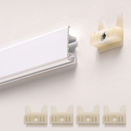 Slimline Track - 2m and wall anchor in white